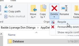 Delete the Database folder