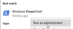 Open Windows PowerShell in admin mode