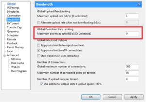 Choosing the Maximum Download Rate
