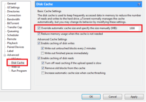 Changing the Disk Cache size