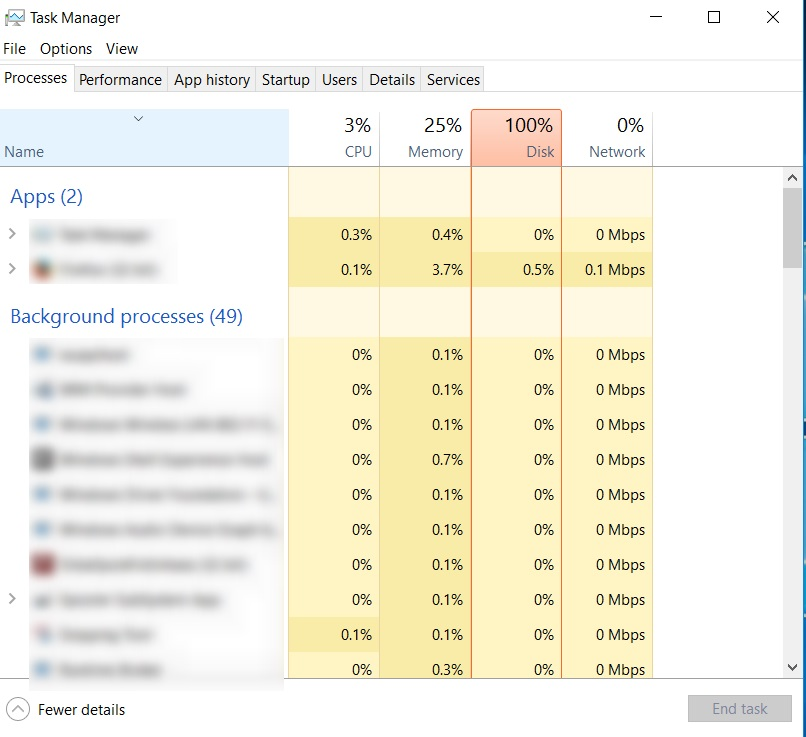 Processes tab of Task Manager