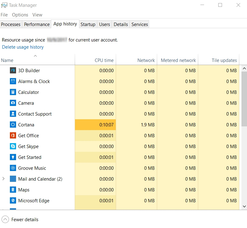 App history tab of Task Manager