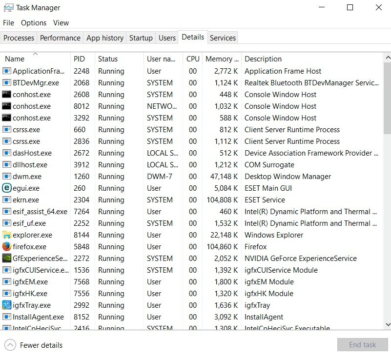 Details tab of Task Manager