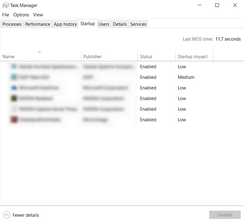 Startup tab of Task Manager