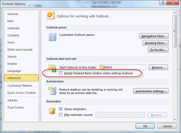Opting to empty the deleted items folder on exiting Outlook